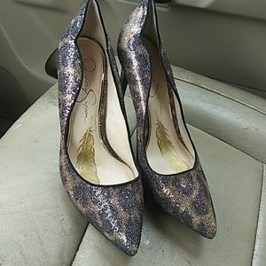 Jessica Simpson Womens PIXY, Gold/Black shoes